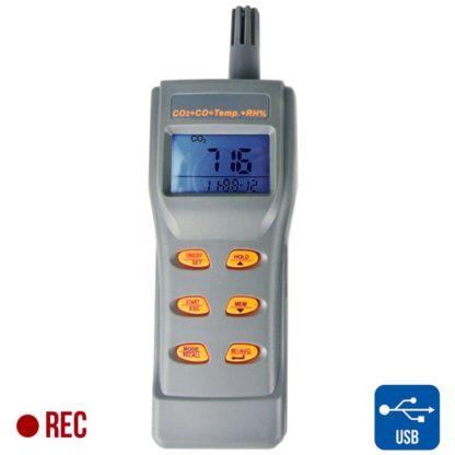 Kannettava tallentava sisäilmanlaadun tarkkuusmittari AO1-77597 (CO2, CO, TEMP, RH, DP, WB) (A01-77597) - 1